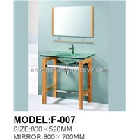 2011 Hot Sell Glass Vanity with sink