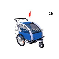 Blue Baby Bike Trailer with Foldable Handle