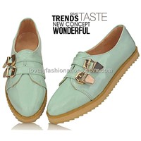 Patent Leather Double Buckles Cuspate Toe Leisurely Flats (QZ-SLK-21)