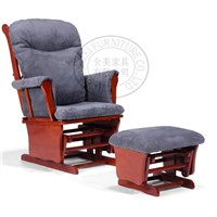 Rubberwood Rocking Chair  with ottoman