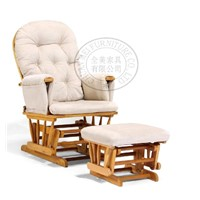 Solidwood glider chair with ottoman