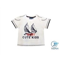 White Summer Round Collar Cotton Toddler Graphic Tee Shirt