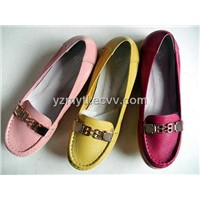 fashion ladies flat leather spring shoes