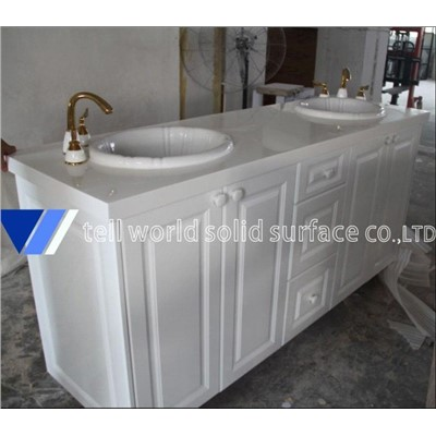 Tellworld Acrylic Solid Surface Vanity Tops Artificial Stone Bathroom Countertops Bathroom