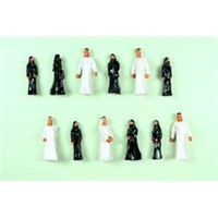 1:75 Plastic Architectural Scale Model People Painted Arab Figures 2.8cm