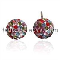 Fashion Silver 8mm Crystal Ball Stud Earrings