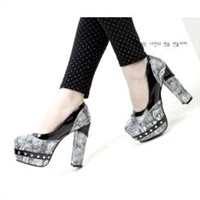 Fashion joker snake rivet waterproof increased ultra high heel pumps Z0293 silver