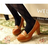 Korean stars favorite! Sweet high bottom thick heel pumps Z0296 brown