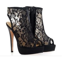 Ladies sandals designer high heeled sandal shoes Black Lace
