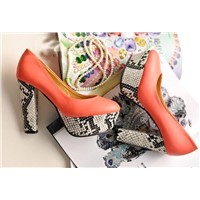 Look slimmer luxury snake decorate waterproof increased thick heel pumps Z0294 red