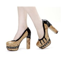 Newest fashion wild nature snake rivet waterproof increased ultra high heel pumps Z0291 apricot