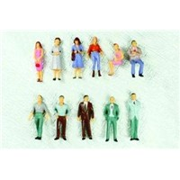 P50-12 outdoor 1:50 Architectural Scale Model People Painted Figures 4.3cm