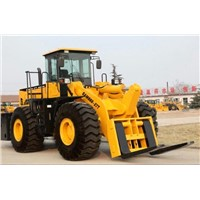 SAM888-27T loader with fork to lift large stone