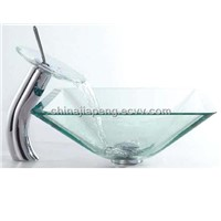 Square glass sinks wtih glass faucets