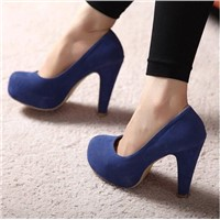 Thick heel waterproof increased high heel pumps Z0001 blue