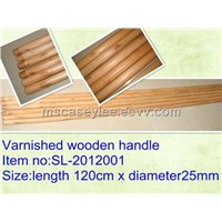 Varnished wooden broom handle