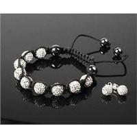 White Shamballa 10mm Czech Crystal Disco Ball Bracelet & 10mm Stud Earring Set
