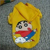 Yellow S, M, L Personalised Dog Hoddies with Crayon Shinchan