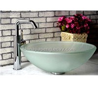 frosted glass sink with round shape
