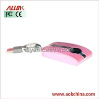 AOK-0061 3D Wired retractable cable Optical Mouse for Laptop or Desktop