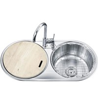 Double round bowls' top mount kitchen sink
