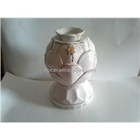Porcelain Oil Burner with Gold Painting, Buddhism Supplies,Oil Lamp