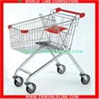 Steel chrome supermarket shopping cart
