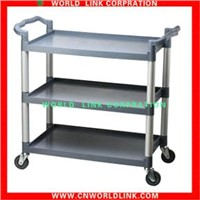 four wheel three shelf stainless steel trolley