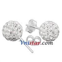 sterling silver 8mm crystal ball stud earrings VS078-7