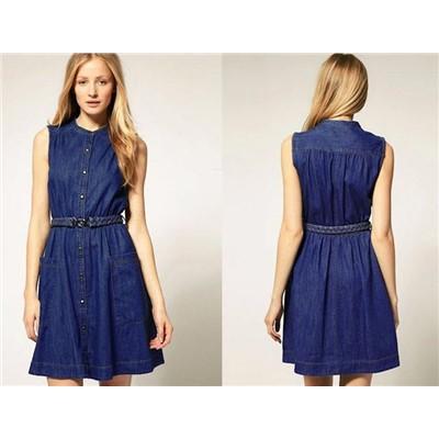 Hot sell fashion cotton jeans dress denim dress wholesale high quality