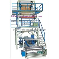 3-layer co-extrusion film blowing machine,2 blown film extruders,3 hoppers, PE film machine