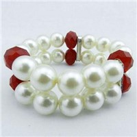 Fashion Pearl Crystal Glass Beaded Bracelet Set