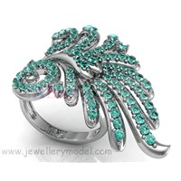 Jewelry fashion gold or silver fancy flower ring mold and model
