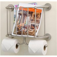 Wall Mounted Magazine Rack and Double Toilet Tissue Holder