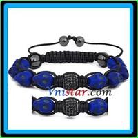 Wholesale shamballa style skull bracelets with jet rhinesone