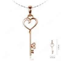 design 18k rose gold and diamond heart key pendant necklace,gold jewelry,diamond pendant necklace