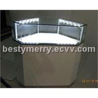 famous brand watch corner counter display and glass cabinet with led lights