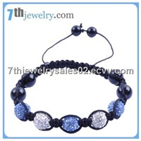 Crystal Bracelet white and light blue swarovski crystal pave ball beads smooth round black onyx bead