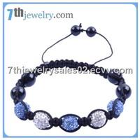 Crystal Bracelet white and light blue swarovski crystal pave ball beads smooth round black onyx bead