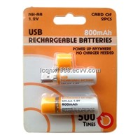 USB Rechargeable AA Batteries with USB2.0 plug