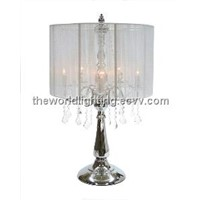 CTL001-Chrome Metal Stand Fabric Cover Crystal Chandelier Decoration Table Lamp