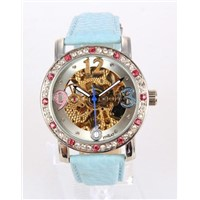 Diamond Bezel Automatic Watch with Blue PU Belt