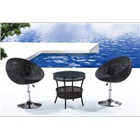Outdoor Wicker Furniture with Swivel Rattan Chair, Beautiful Design and Good Quality