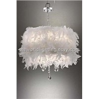 PLMC213- White Feather Decoration Modern Crystal Pendant Lamp China
