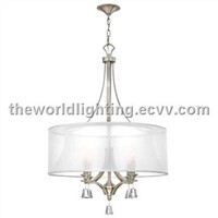 PLMC216-Chrome Metal Stand White Fabric Cover Modern Crystal Pendant Lamp China