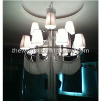 (TD-120519-12CH)Chrome Metal Stand Glass Cup Shape Modern Iron Chandelier China