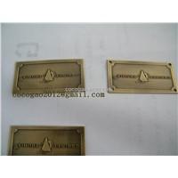 Custom Furniture Label Metal Embossed Label Metal Badge Adhesive Metal Label Catalog Cq