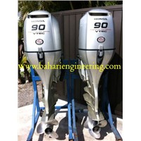 Pair Of 2007 Honda 90 HP 4 Stroke Outboard Motor