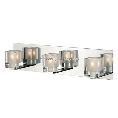 Chrome metal stand glass cover modern bathroom vanity for Modern chrome bathroom vanity lighting