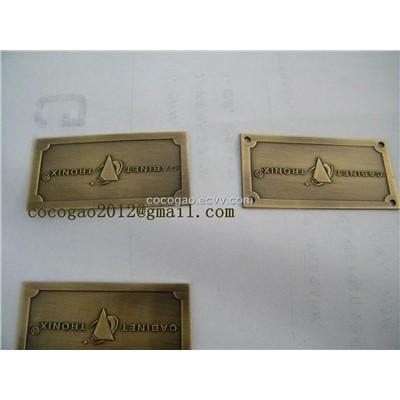 Custom Furniture Label Brass Logo Adhesive Label Brass Furniture Badge Metal Tag Cq1051